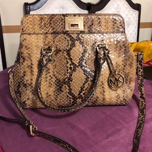 Authentic Michael Kors snake print leather 2 way